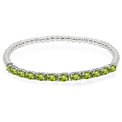 Sterling Silver Peridot Oval Beaded Stretch Tennis Style Bracelet