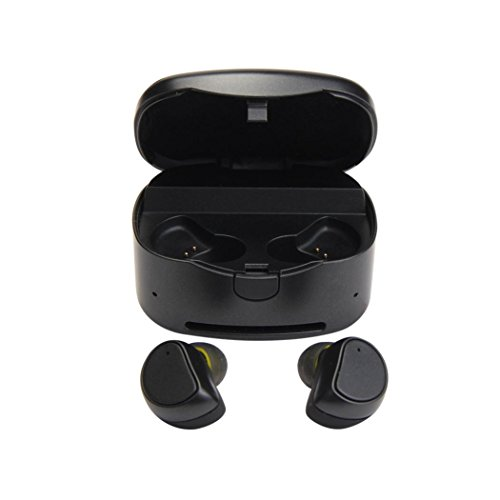 Price comparison product image Mini Bluetooth 4.1 Wireless Sport Headset, Tuscom Twins Stereo In-ear Earbuds With Charging Dock For iPhone Samsung iPad HTC (Black)