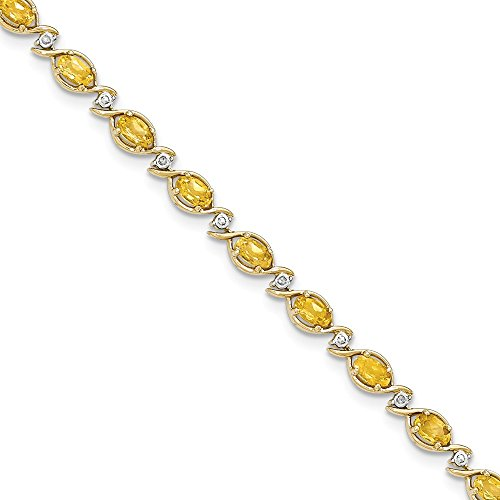 14k Yellow Gold Citrine/diamond Bracelet 7 Inch Gemstone Fine Jewelry Gifts For Women For Her from ICE CARATS