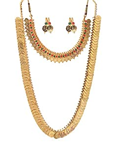 YouBella Jewellery Gold Plated Jewellery Long Traditional Maharani Coin Necklace Set and Red Green Coin Jewellery Set with Earrings for Girls and Women