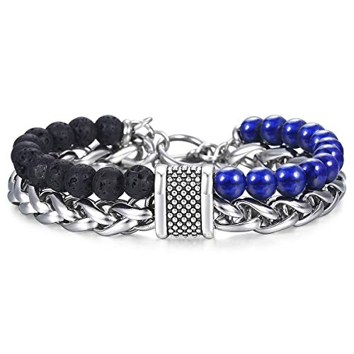 Trendsmax Black Lava Lapis Lazuli Beaded Bracelet for Men Two Layers Stainless Steel Wheat Chain Charm Wristband OT Buckle 8inch