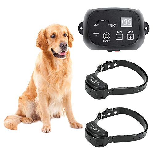 CEVENE Electric Dog Fence,Aboveground/Underground Dog Containment System(IP66 Waterproof and Rechargeable Collar,Shock/Beep Correction,for 2 Pets)