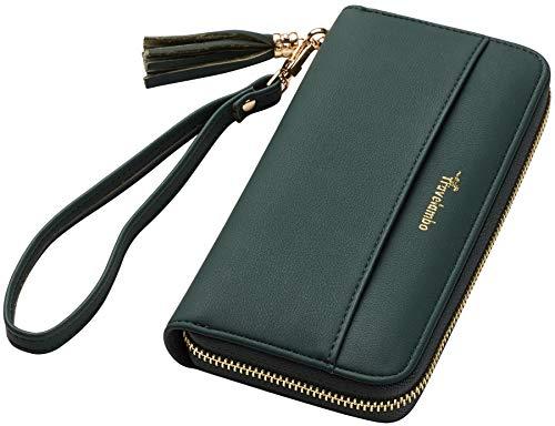 Travelambo Womens Wallet Tassel Bifold Ladies Cluth Wristlet Wrist strap Long Purse (Access Green Coal)