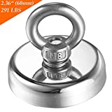 Wukong 291 LBS Pulling Force(132KG) Super Powerful Round Neodymium Magnet with Countersunk Hole and Eyebolt Diameter 2.36''(60mm) Great for Underwater Retrieving or Magnetic Fishing.