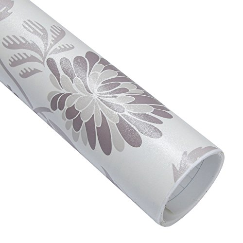 Wallstickery floral paper peel and stick wallpaper for wall decorative cabinet countertops self adhesive removable vinyl sticker chrysanthemum pattern design (1.6 ft x 9.8 ft)