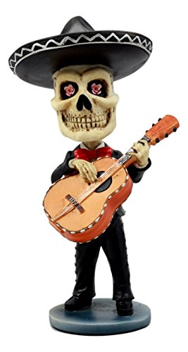 Ebros Day Of The Dead Skeleton Wedding Mariachi Guitarron Player Bobblehead Figurine Traditional Folklore Mexican Musician Sculpture