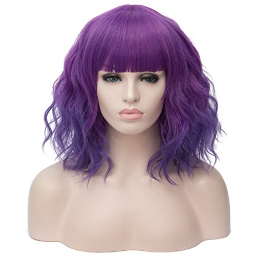 OneUstar Short Curly Wigs with Bangs 14 Inches Purple Cosplay Custom Party Wig for Women and Girls -