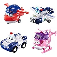 """Super Wings US720040F Transforming Toy Figures, Police Jett, Paul, Kim & Rescue Dizzy, 2'' Scale, 2"""" Scale"""