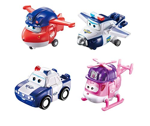(Super Wings US720040F Transforming Toy Figures, Police Jett, Paul, Kim & Rescue Dizzy, 2'' Scale, 2