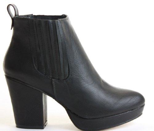 WOMENS LADIES HEELED CHELSEA BOOTIES PLATFORM WINTER BLOCK MID HIGH HEEL ANKLE BOOTS SIZE 3-8 Style B - Black Matt
