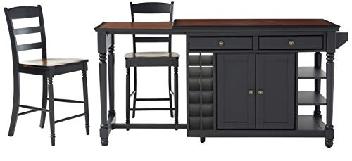 Home Styles Grand Torino Kitchen Island and Two Stools, in Black and Rustic Cherry Finish, Wine Rack, Pull-out Side Counter, Plenty of Storage