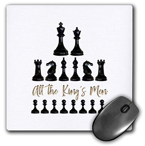 3dRose Alexis Design - Sport Chess - Set of Black Chessmen and a Text All The Kings Men on White - Mousepad (mp_302155_1)