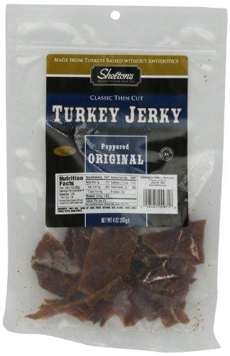Shelton's Turkey Jerky, Peppered Original, 4-Ounce Bags (Pack of 6)