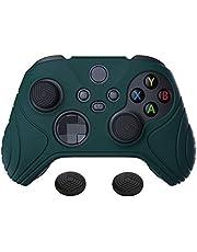 eXtremeRate PlayVital Samurai Edition racing grön halkfri kontroll grepp silikon hud, ergonomiskt mjukt gummi skyddsfodral för Xbox-serien S/X-kontroll med svart tumstick kepsar