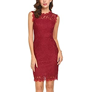 ANGVNS Women Sleeveless Vintage Floral Lace Pencil Party Office Dress