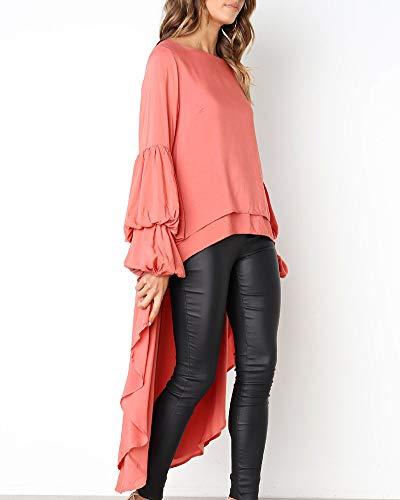 Grande Mode Chemisier Femme Tops Rond Chic Unie Couleur Longues Manches Tunique Col Taille Longue Rouge Volants Orange qgRxTw78q