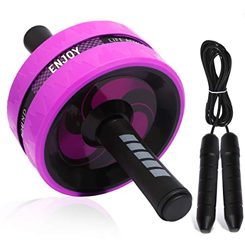Sky Ab Roller for Full Body Workout with Jump Rope-Ab Wheel Exercise Roller Pro and Original Suitable for Beginners to Advanced Men and Women - Ab Equipment Roller Trainer Used at Home (Purple)