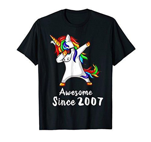 11 Years Old 11th Birthday Unicorn Dabbing Shirt 2007 Gift