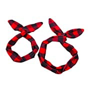 MineSign Pack of Women Baby Headband Stylish Vintage Wired Hair Bands Fabric Bowknot Hair Holder Retro Head Accessory, Red Plaid