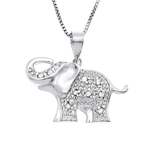 JewelExclusive Sterling Silver 1/10cttw Natural Round-Cut Diamond (J-K Color, I2-I3 Clarity) Elephant Pendant-Necklace,18