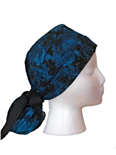 Blue Night Sky Ponytail Scrub Cap for Women