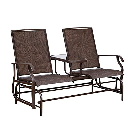 Glider Double Garden (PatioPost Outdoor 2 Person Patio Mesh Fabric Loveseat Glider Chair w/Center Table,JA)