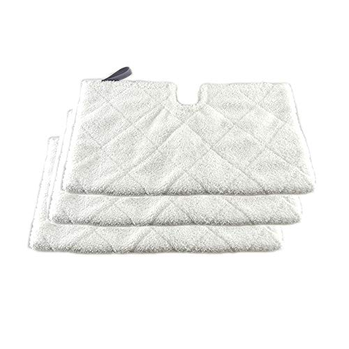 (Turbokey 3 Pocket Steam Mop Pads Double-Sided Rectangle Microfiber Refill Pad for Shark Euro Pro Mops S3500 Series,S2902,S3455K,S3501,S3550,S3601,S3801,S3901,S4601,S4701,S4701D,SE450(White))
