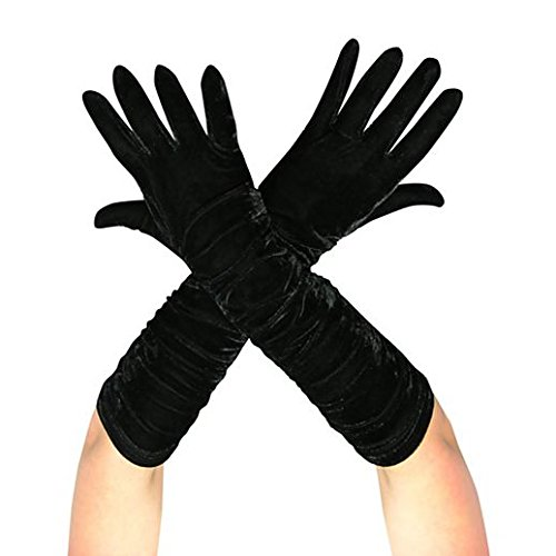 Gloves Costume Accessory Hand Accessories Halloween Velvet Ruched Vampiress Gloves]()