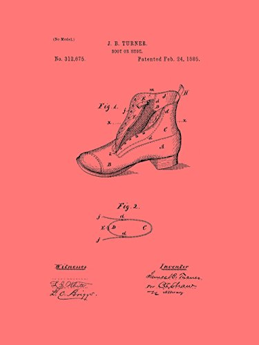 Framable Patent Art Original Footwear Shoe Boot 18in by 24in Patent Art Poster Print Vintage Coral PAPSP112CR