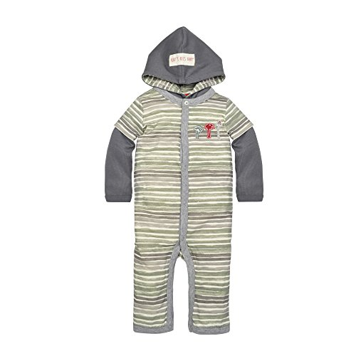 (Burt's Bees Baby Baby Boys' Romper Jumpsuit, 100% Organic Cotton One-Piece Coverall, Multicolored Hooded Watercolor Stripes, 12 Months)