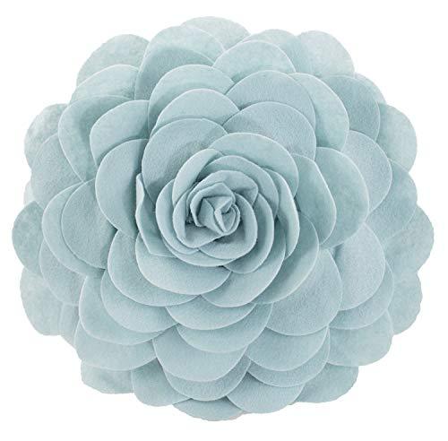 Fennco Styles Evas Flower Garden Decorative Throw Pillow with Insert - 13 inch Round (Aqua, 13 Case+Insert)