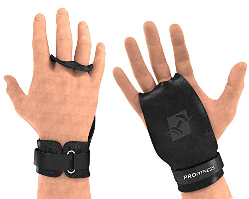 "ProFitness 2 Hole Leather Cross Training Gymnastic Grips - Non Slip, High Grip Palm Protection with Wrist Wrap Support for Pull Ups, Kettlebells, WODs (Medium 4.25""-5.0"" (Palm Size), Black Grip)"