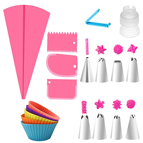GIRYES Icing Bags and Nozzles Set 19 Pcs Cake Pipe Nozzle Kits Frosting Bag Coupler Stainless Steel Piping Nozzle Set Cake Scraper and Muffin Cup for DIY Cake Decoration