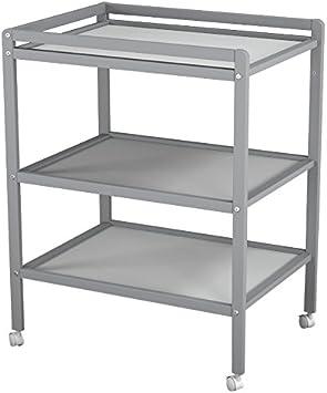 Ateliers T4 Table /à Langer /à Roulettes avec 2 /Étag/ères Laqu/é Blanc