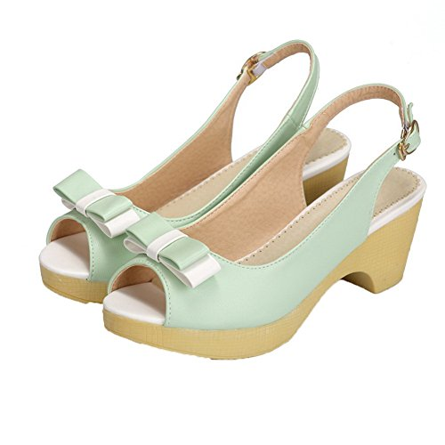 AalarDom Womens Buckle Open-Toe Kitten-Heels PU Solid Sandals Green 43upzW4