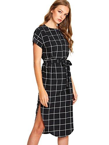 1dde7f7c1e Romwe Women s Dresses Summer Casual Grid Dress Knee Length Split ...