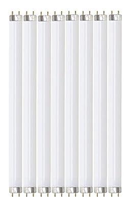 """Pack of 8 F32T8/830 32 watt 48"""" Straight F32 T8 Medium Bi-Pin (G13) Base, 3,000K Warm White Octron Fluorescent Tube Light Bulb"""