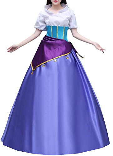(COSKING Esmeralda Costume for Women, Deluxe Halloween Princess Cosplay Party Dress Ball Gown)