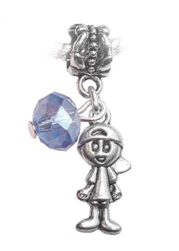 OutletBestSelling Baby Birthstone Crystal Bead Dangle Charms for European Slide Bracelets March Boy