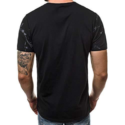 Manica shirt Stampata Nero Uomo somesun T Top Corta Sottile Camicetta Casuale 5 Uomo Moda Lettera TUwFFP8x