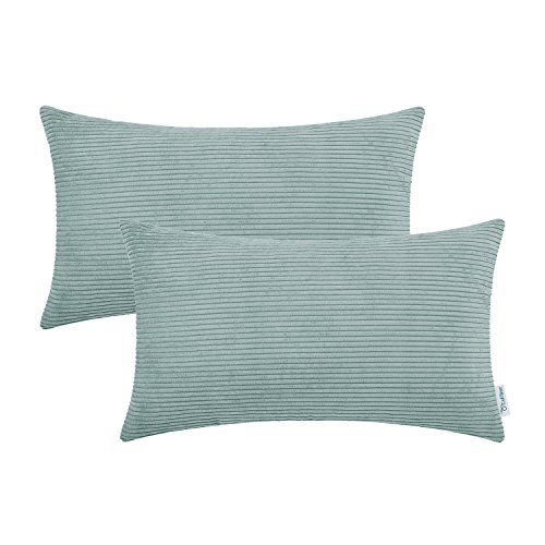 CaliTime Pack of 2 Cozy Bolster Pillow Covers Cases for Couch Bed Sofa Ultra Soft Corduroy Striped Both Sides 12 X 20 Inches Duck Egg