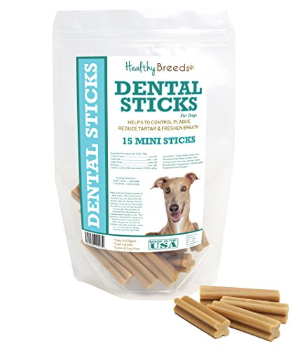 Healthy Breeds Dog Dental Care Sticks for Italian Greyhound - OVER 200 BREEDS - Easier Than Wipes Rinses Spray Toothbrush or Toothpaste - 15 Mini Sticks ()