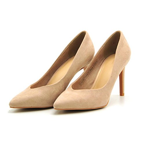 QPYC Zapatos de mujer con punta fina Tacón bajo de la boca Cómodo Zapatos individuales de mujer Tacones altos femeninos Juego de pies apricot