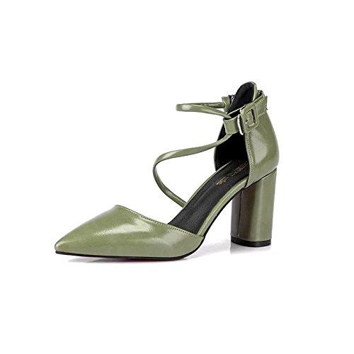Ruanlei@Sexy de Tacones Altos/Clásicas Tacones Altos/fashion - Cerrado Mujer/Tacones de Charol ElegantesCorrea elegante sandalias con gruesos cómodos zapatos de mujer green