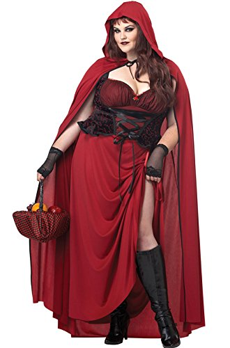 California Costumes Women's Plus-Size Dark Red Riding Hood Plus, Red, 3X (Hood Plus)