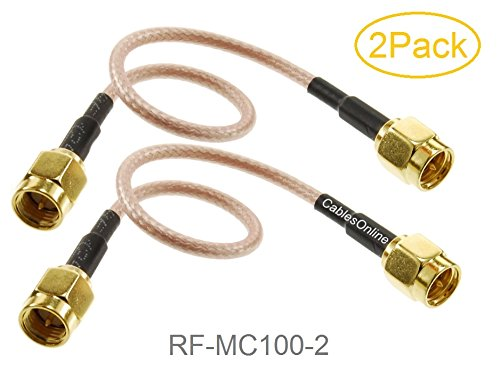 CablesOnline, 2-Pack 6-inches SMA Male to SMA Male Gold-Plated RG316 Coax Low Loss RF Cables, RF-MC100-2