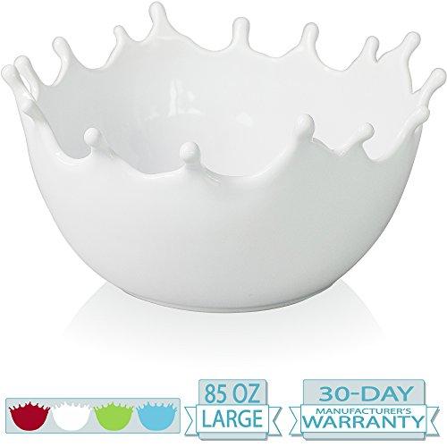 Premium Large Ceramic Fruit Bowl - Candy Dish - Salad Bowl - Decorative Centerpiece Bowl - Serving Bowl - Best for Serving Fruit Salad Candy Popcorn Punch Chips - Unique (Dish Fruit Bowl)