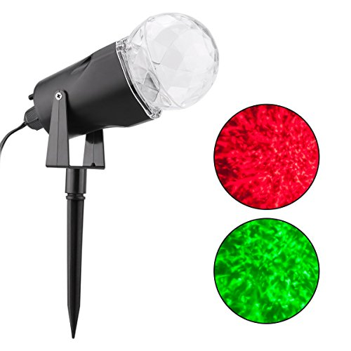 WED Waterproof Spotlight Rotating Led Projector Light with Flame Lightings for Indoor Outdoor Christmas Festival Decorations for Home, Garden, Landscape (Red & Green) by WED