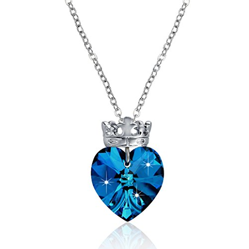 Vancona Swarovski Elements Crystal Crown Necklace White Gold Plated Pendant Blue Heart Shape (Blue) - Swarovski Crystal Crown Necklace
