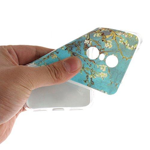 Funda Xiaomi Redmi 5 Plus ,Carcasas Xiaomi Redmi 5 Plus,Moda Alta Calidad de Relieve Pintura TPU Flexible Silicona Suave Funda Carcasa Caso Cover Caja Suave Gel Shock Absorción Anti Rasguños Anti Choq Flor del ciruelo